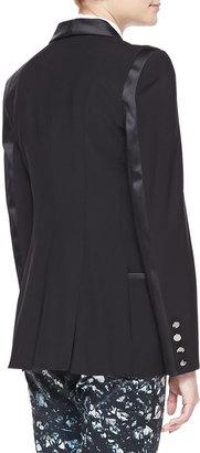 Badgley Mischka Satin-Trim Wool-Blend Blazer, Black