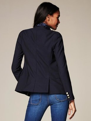 Banana Republic Navy Lightweight Wool Puff-Sleeve Blazer