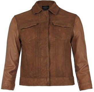 AllSaints Whitting Cropped Leather Jacket