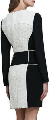 Tibi Embroidered Jacquard V-Neck Dress