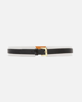 Maison Boinet Exclusive Two-tone Layered Leather Belt: White/black