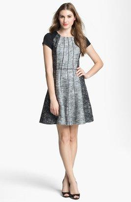 Jessica Simpson Textured Cap Sleeve Tweed Fit & Flare Dress