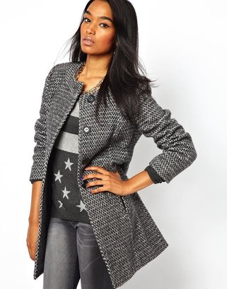 Liquorish Tweed Collarless Coat