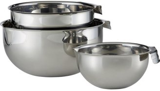 Crate & Barrel Stainless Mixing Bowls with Pour Spouts
