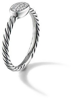 David Yurman Cable Collectibles Oval Ring With Diamonds