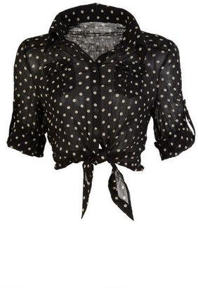 Delia's Polka Dot Tie Front Blouse