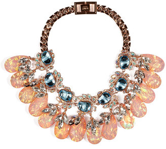 Mawi Rose-Gold Plated Flower Necklace with Crystal Leaves and Teardrops