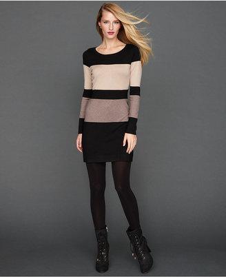 INC International Concepts Petite Dress, Long-Sleeve Colorblock Sweater