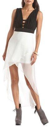 Charlotte Russe Strappy Chiffon Hi-Low Dress