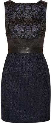 Walter W118 by Baker Silvia faux leather-trimmed brocade sheath dress