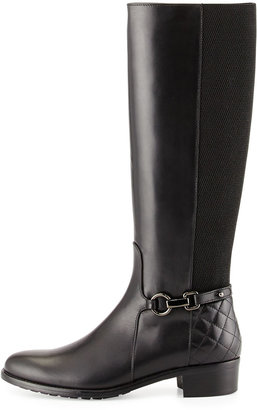 Aquatalia Oralie Leather Stretch Knee Boot, Black