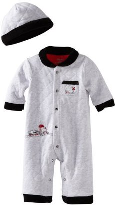 Little Me Baby-Boys Newborn Train Trip Coverall And Hat