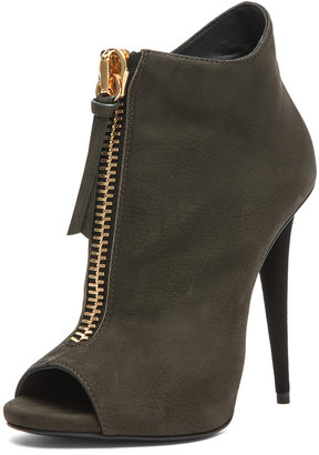 Giuseppe Zanotti Suede Zip Up Ankle Boot in Olive