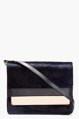 Sophie Hulme Navy Calf-Hair Envelope Shoulder Bag
