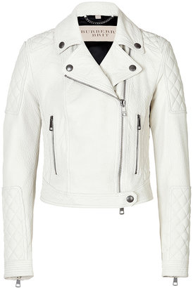 Burberry Cropped Leather Motorcycle Jacket in White