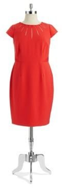 Adrianna Papell Plus Shift Dress with Mesh Detailing