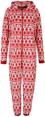 John Lewis Fair Isle Onesie and Hot Water Bottle Cover, Red/White