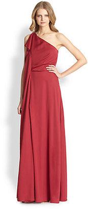 Halston One-Shoulder Ruffled Satin Gown