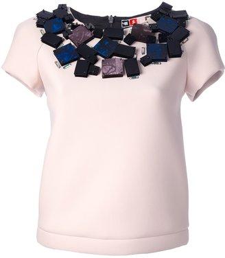 MSGM neoprene embellished top