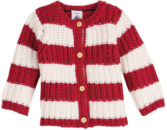 Petit Bateau Baby Girl Wool And Cotton Knit Cardigan