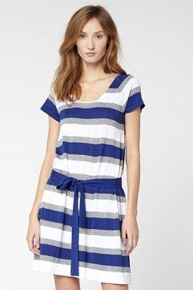 Lacoste Short Sleeve Lightweight Cotton Bold Stripe A-Line Sweater Dress