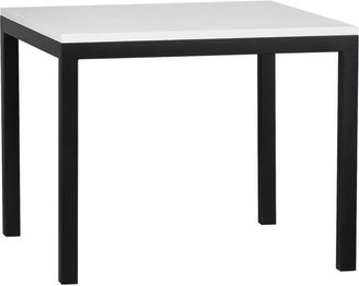 """Crate & Barrel White Top/ Natural Dark Steel Base 36"""" Sq. Parsons Dining Table"""