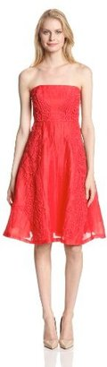 Tracy Reese Women's Lace-Applique Linen Fit-and-Flare Strapless Dress