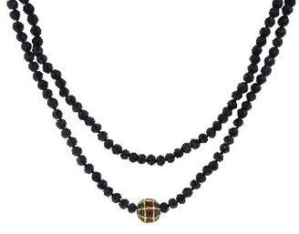 Vanessa Jenik Black Spinel and Garnet Bead Chain - 42''