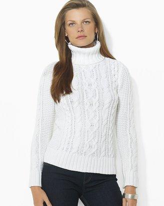Lauren Ralph Lauren Cable Knit Cotton Turtleneck