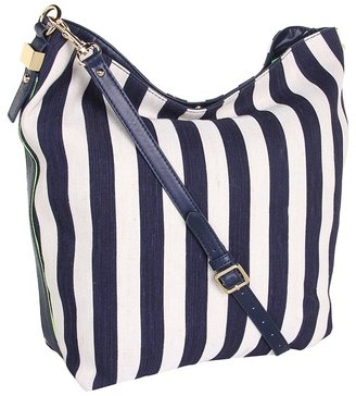 Juicy Couture Willow Canvas Hobo Crossbody (Indigo Stripe) - Bags and Luggage
