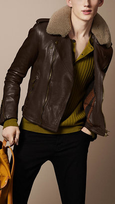 Burberry Shearling Collar Biker Jacket