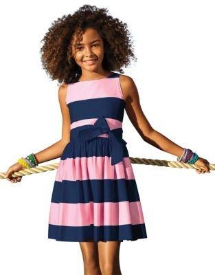 Ralph Lauren Girls 7-16 Cotton Sateen Sleeveless Dress