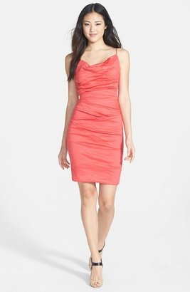 Nicole Miller Ruched Metallic Sheath Dress