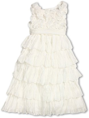 Biscotti Blushing Rose Crinkle Chiffon Dress (Little Kids) (Ivory) - Apparel