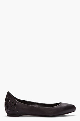 McQ by Alexander McQueen Black Studded Leather Pointed Flats