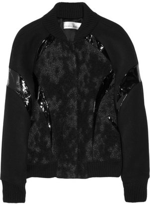 Prabal Gurung Felt and patent leather-trimmed metallic brocade varsity jacket