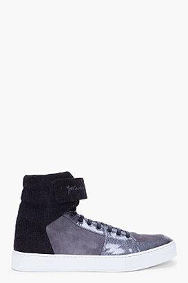 Yves Saint Laurent Charcoal Suede Trim Malibu Sneakers