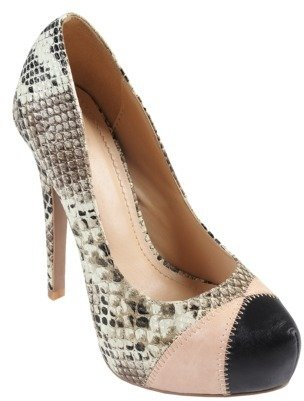 Journee Collection Womens' Double Stitch Snake Print Stilettos
