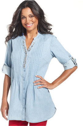 Style&Co. Top, Roll-Tab-Sleeve Beaded Pleated-Front Chambray Shirt