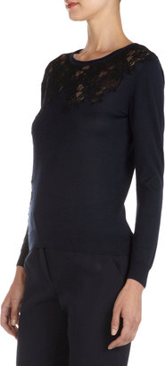 Nina Ricci Navy Silk-Blend Top With Black Lace Inset