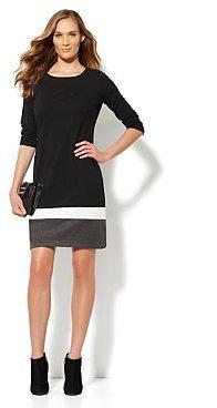 New York & Co. Colorblock-Hem Shift Dress - Black