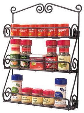 Spectrum Diversified Scroll Spice Rack in Black