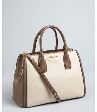 Miu Miu Miu cream and grey grained leather colorblock convertible satchel