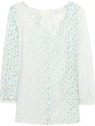 Band Of Outsiders Floral-print cotton and silk-blend blouse