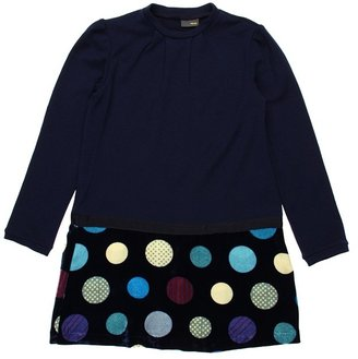 Fendi Girls' L/S Dress w/ Printed Velvet Bottom (Big Kids) (Navy) - Apparel