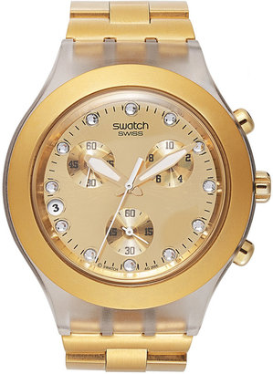 Swatch Watch, Unisex Swiss Chronograph Full-Blooded Gold-Tone Aluminum Bracelet 43mm SVCK4032G $160 thestylecure.com