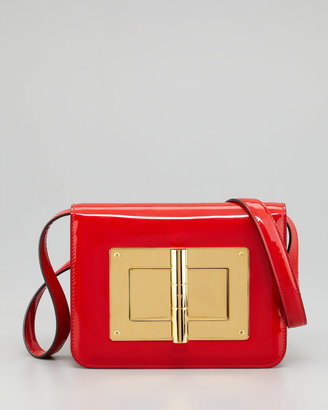 Tom Ford Natalia Medium Coral Red Patent Shoulder Bag