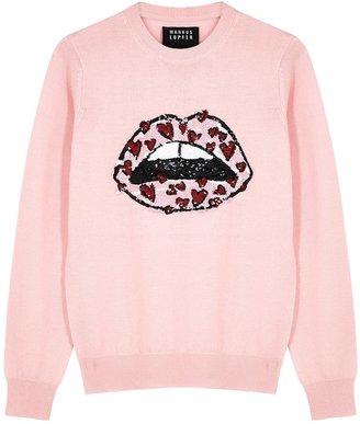 Markus Lupfer Mia Pink Embellished Merino Wool Jumper