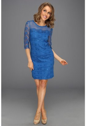 Max & Cleo Knit Lace Cocktail (Starlight Blue) - Apparel