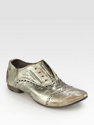 Marsèll Distressed Metallic Leather Laceless Oxfords